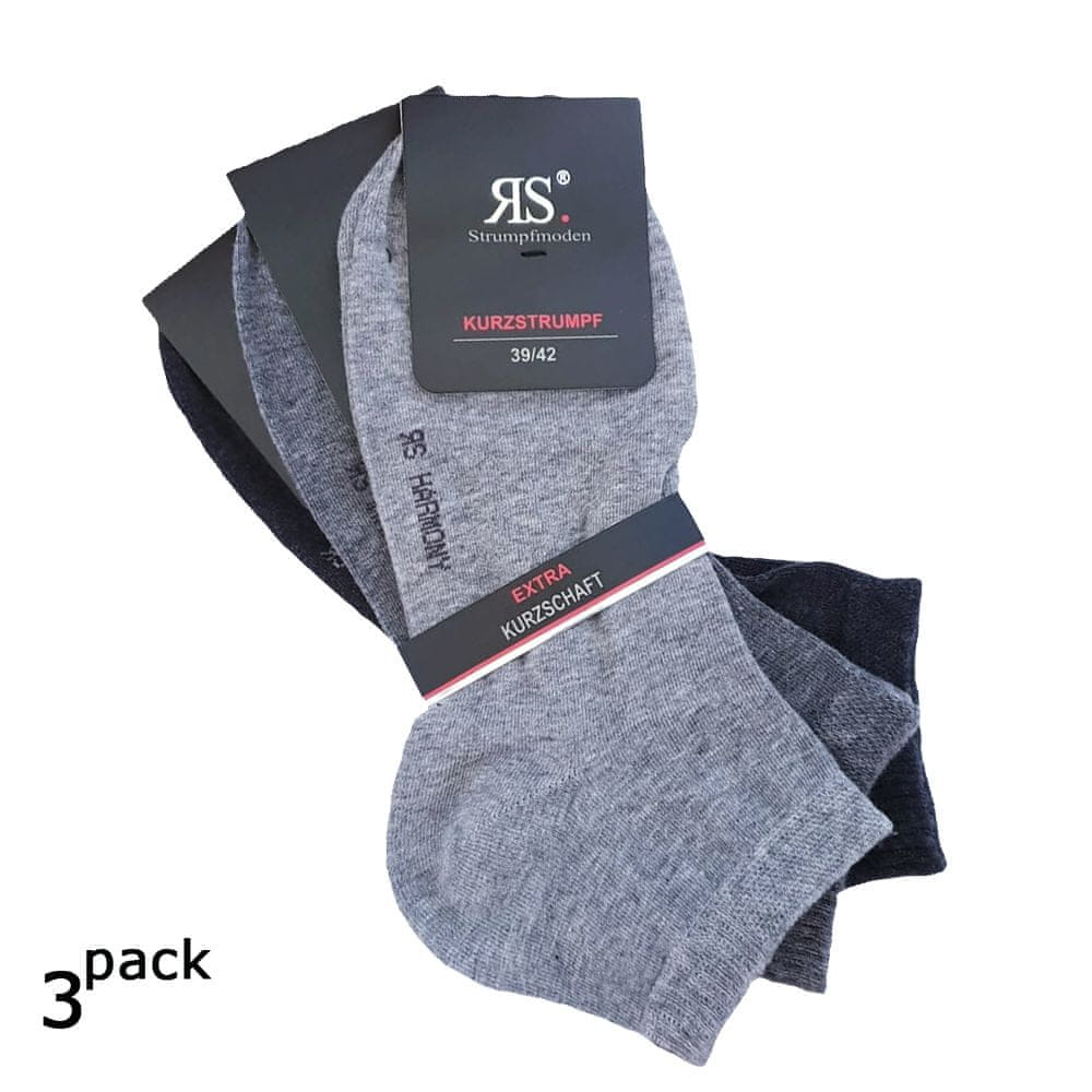 RS Pánské bavlněné letní kotníkové jednobarevné hladké ponožky 3Pack - 43-43