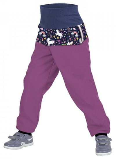 Unuo dievčenské softshellové nohavice slim s fleecem Jednorožci