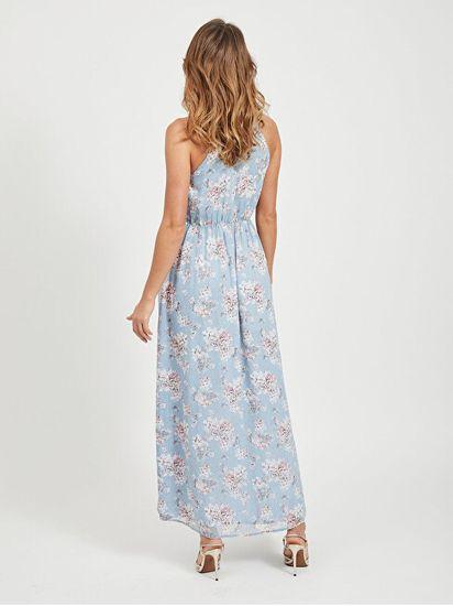 VILA Sukienka damska VISMILLA MAXI DRESS / DC AshleyBlue KWIATOWY PRINT