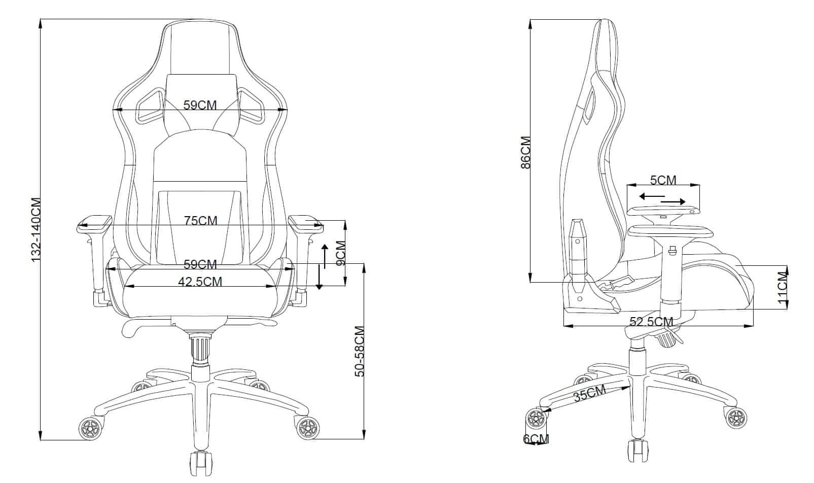 CZC Throne GX800G ergonomické polstrování houpací mechanika mnohačetné nastavení