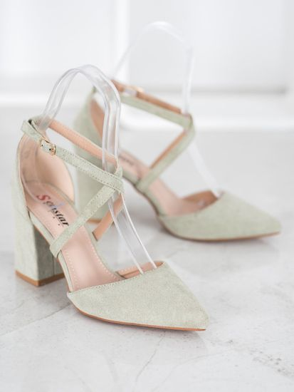 Originální zelené dámské lodičky na širokém podpatku + Ponožky Gatta Calzino Strech