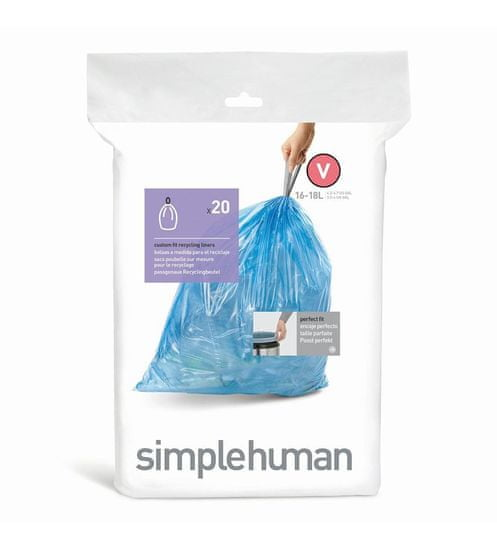 Simplehuman vreće za smeće 16-18 l, tipa V, 20 komada