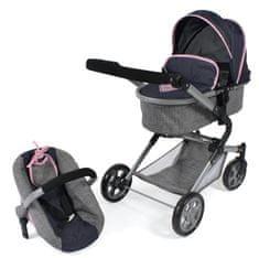 Bayer Chic Lia voziček z avtosedežem za lutke, sivo-roza