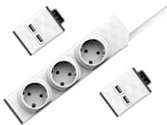 Allocacoc PowerStrip Modular Switch 1,5m cable + 2× USB modul