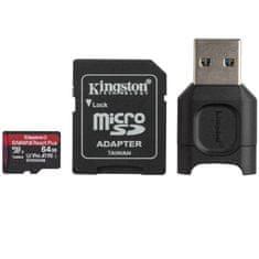 Kingston Canvas React Plus microSD 64 GB spominska kartica + MobileLite Plus čitalec + microSD adapter