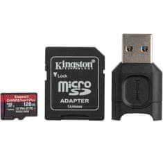 Kingston Canvas React Plus microSD 128 GB spominska kartica + MobileLite Plus čitalec + microSD adapter