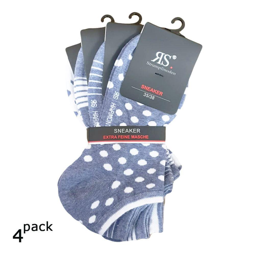 RS Dámské letní nízké sneaker bavlněné vzorované ponožky 4Pack - 39-42