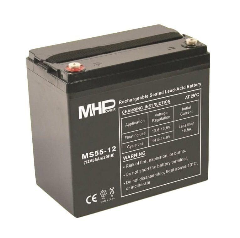 MHpower MS55-12 olověný akumulátor AGM 12V/55Ah, Terminál T1 - M6
