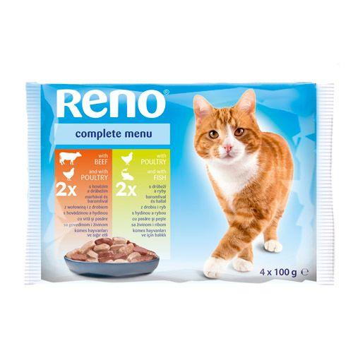 Reno kapsička pre mačky 4 x 100g hydina+hovädzie / hydina+ryba