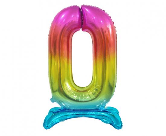 GoDan Léggömb fólia száma álló 0 - szivárvány - 74 cm