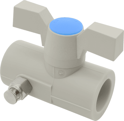 FV PLAST Guľový kohút plastový s odvzdušňovacím ventilom páka/motýľ d25 302025