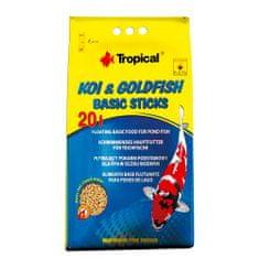 TROPICAL Koi&Goldfish Basic Sticks 20l/1600g plávajúce základné krmivo pre ryby v záhradných jazierkach