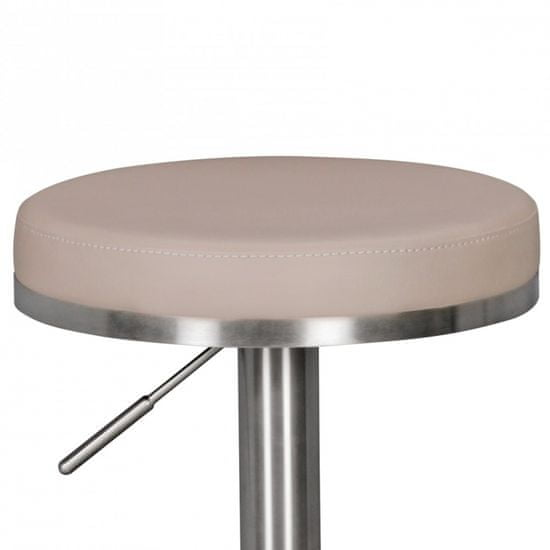 Bruxxi Barová stolička Ebba, béžová/nehrdzavejúca oceľ