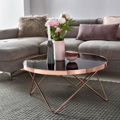 Bruxxi Konferenčný stolík Lola, 80 cm, čierna/medená