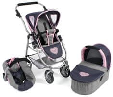 Bayer Chic komplet z vozičkom in dodatki za lutko EMOTION ALL IN 3 V 1, moder/siv/roza