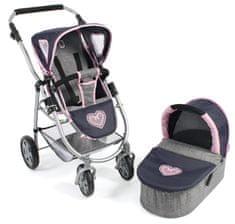 Bayer Chic voziček za lutko EMOTION 2 v 1, moder/siv/roza