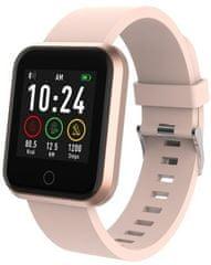 Forever ForeVigo SW-300 pametni sportski sat, Bluetooth, aplikacija, IP67, poklon dodatni remen, ružičasto zlatni