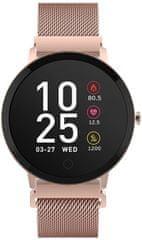 Forever ForeVive SB-320 pametni sportski sat, Bluetooth, aplikacija, IP67, poklon dodatni remen, ružičasto zlatni