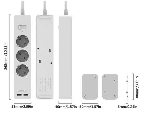 Orico GPC-3A2U-EU razdelilec s prenapetostno zaščito, 3x 230 V, 2x USB, 15.000 A