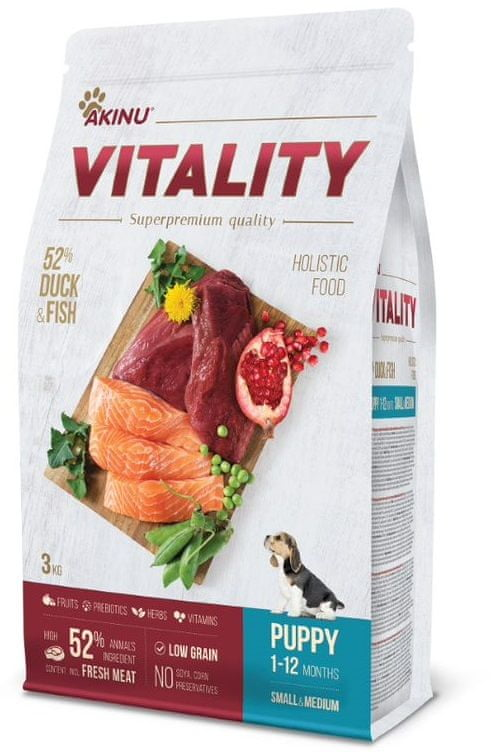 Akinu VITALITY dog puppy small/medium duck & fish 3 kg