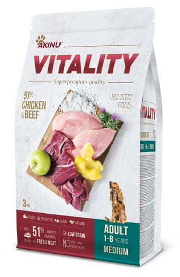 Akinu hrana za pse VITALITY dog adult medium chicken & beef, 3 kg