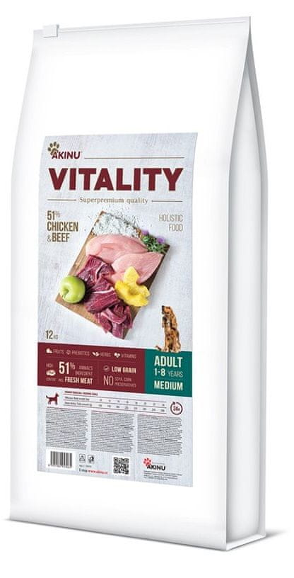 Akinu VITALITY dog adult medium chicken & beef 12 kg