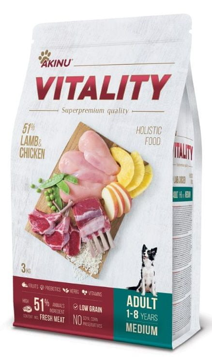 Akinu VITALITY dog adult medium lamb & chicken 3 kg