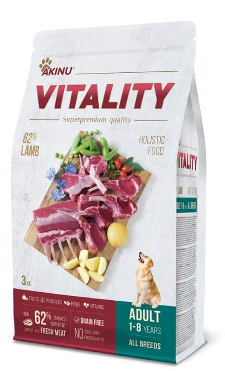 Akinu VITALITY dog adult hypoallergic lamb 3 kg