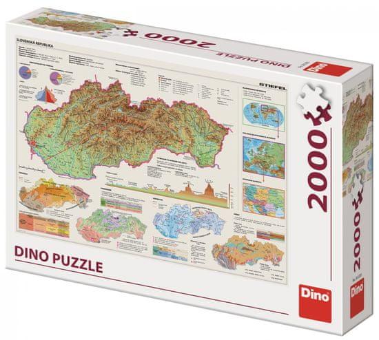 Dino sestavljanka Zemljevid Slovaške, 2000 kosov