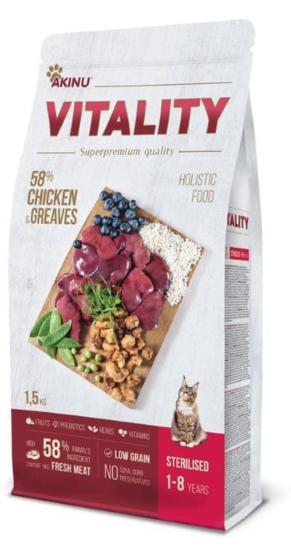 Akinu VITALITY cat sterilised chicken & greaves 1,5 kg