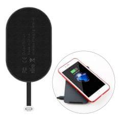 BASEUS Microfiber Wireless Qi Charging Receiver Lightning, črna