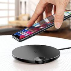 BASEUS Digital LED Display brezžični polnilnik Qi, USB / Lightning, Črna