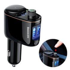 BASEUS Locomotive Bluetooth FM Transmitter MP3 avtomobilski adapter 2x USB 3.4A, črna