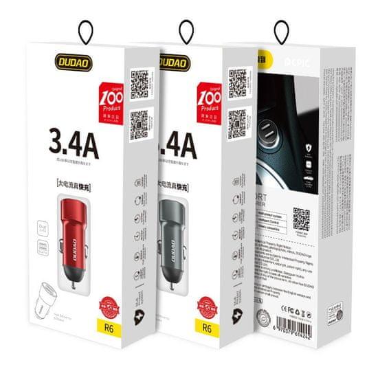 DUDAO R6 avtomobilski adapter 2x USB 3.4A, červená