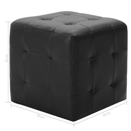 shumee Tabure 2 kosa črn 30x30x30 cm umetno usnje