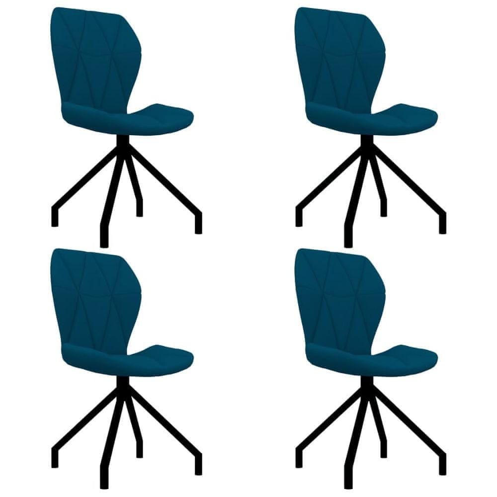 Jídelní židle 4 ks modré umělá kůže