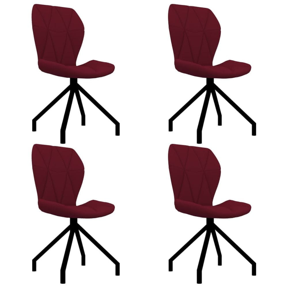 Jídelní židle 4 ks vínové umělá kůže