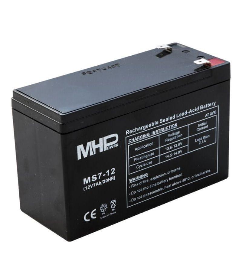 MHpower MS7-12 olověný akumulátor AGM 12V/7Ah, Faston F2 - 6,3mm