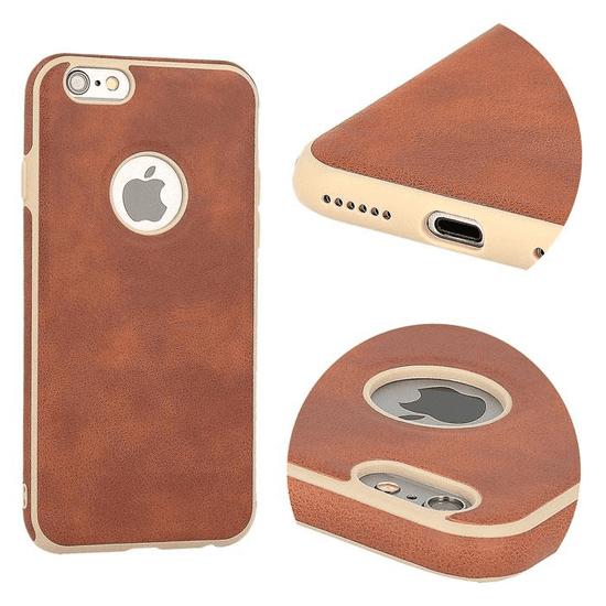 AMA Silikonový/ kožený obal VINTAGE pro SAMSUNG GALAXY S6 (G920) - hnědý