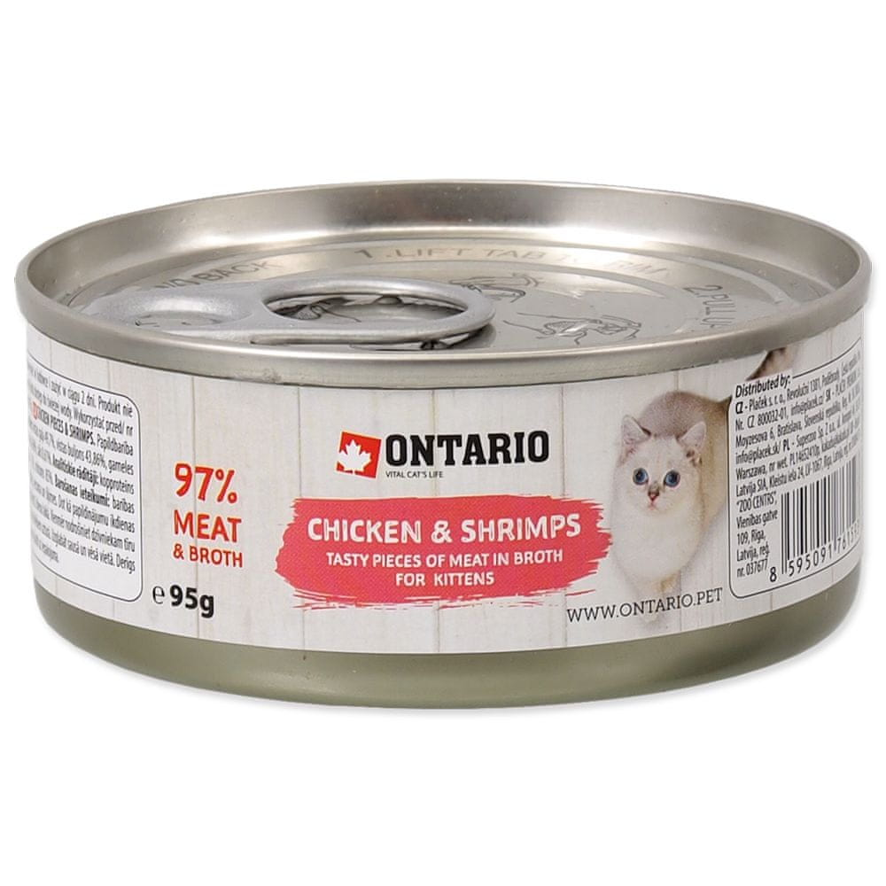 Ontario konzerva Junior Chicken Pieces+Shrimp 12x95 g