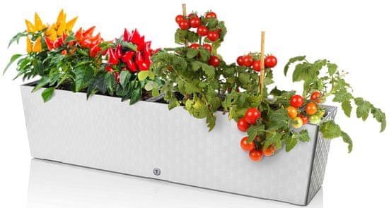 Marex Trade Plastkon samozavlažovací kvetináč SUPREME 75 cm, biely