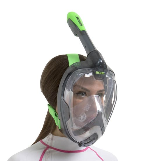 Seac Celoobličejová šnorchlovací maska Unica černá/limetka S/M