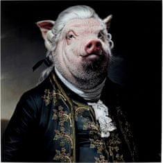KARE Skleněný obraz Gentleman Pig 120x120cm