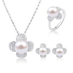Tiniana Srebrny komplet z prawdziwą perłą rzeczną delikatny kwiatek