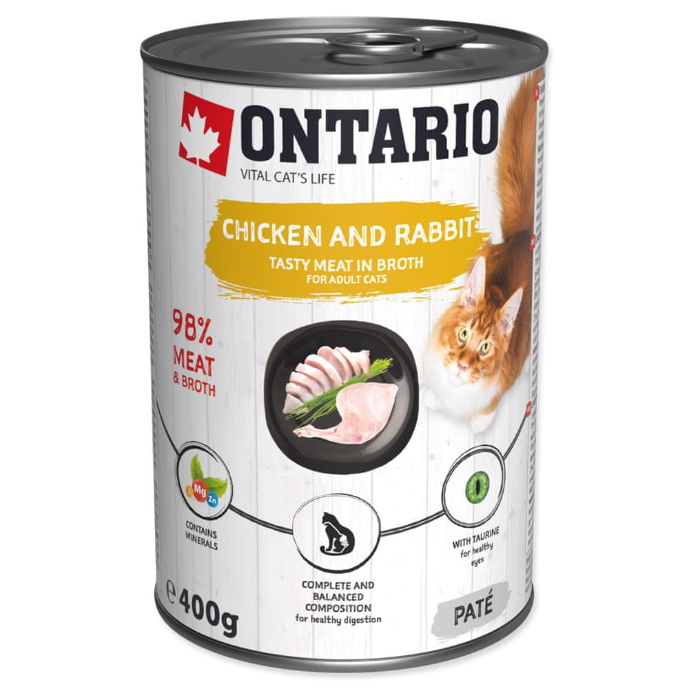 Ontario konz.Chicken,Rabbit,Salmon Oil 6x400 g