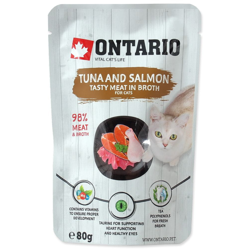 Ontario kaps. Tuna and Salmon in Broth 15x80 g
