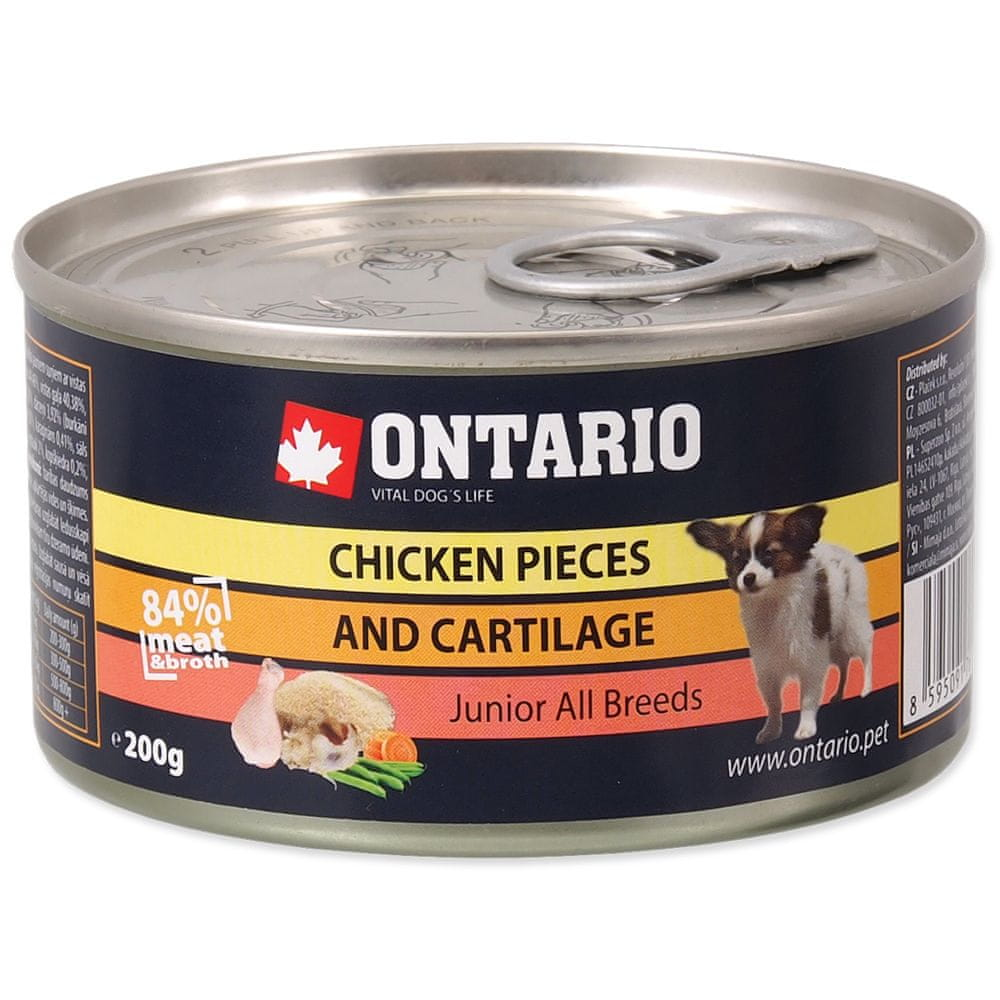 Ontario konzerva Junior Chicken Pieces+Cartilage 12x200 g