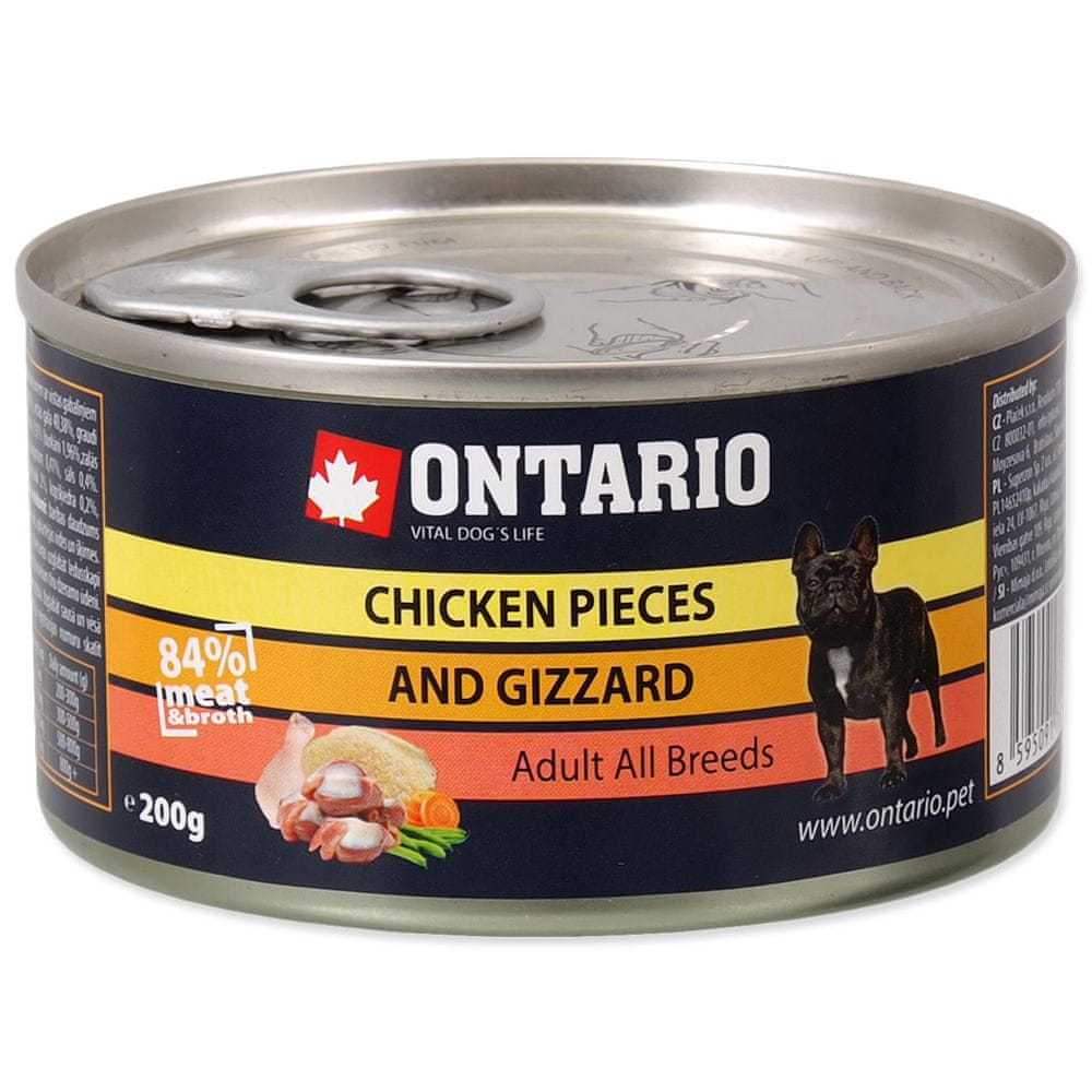 Ontario konzerva Chicken Pieces+Gizzard 12x200 g