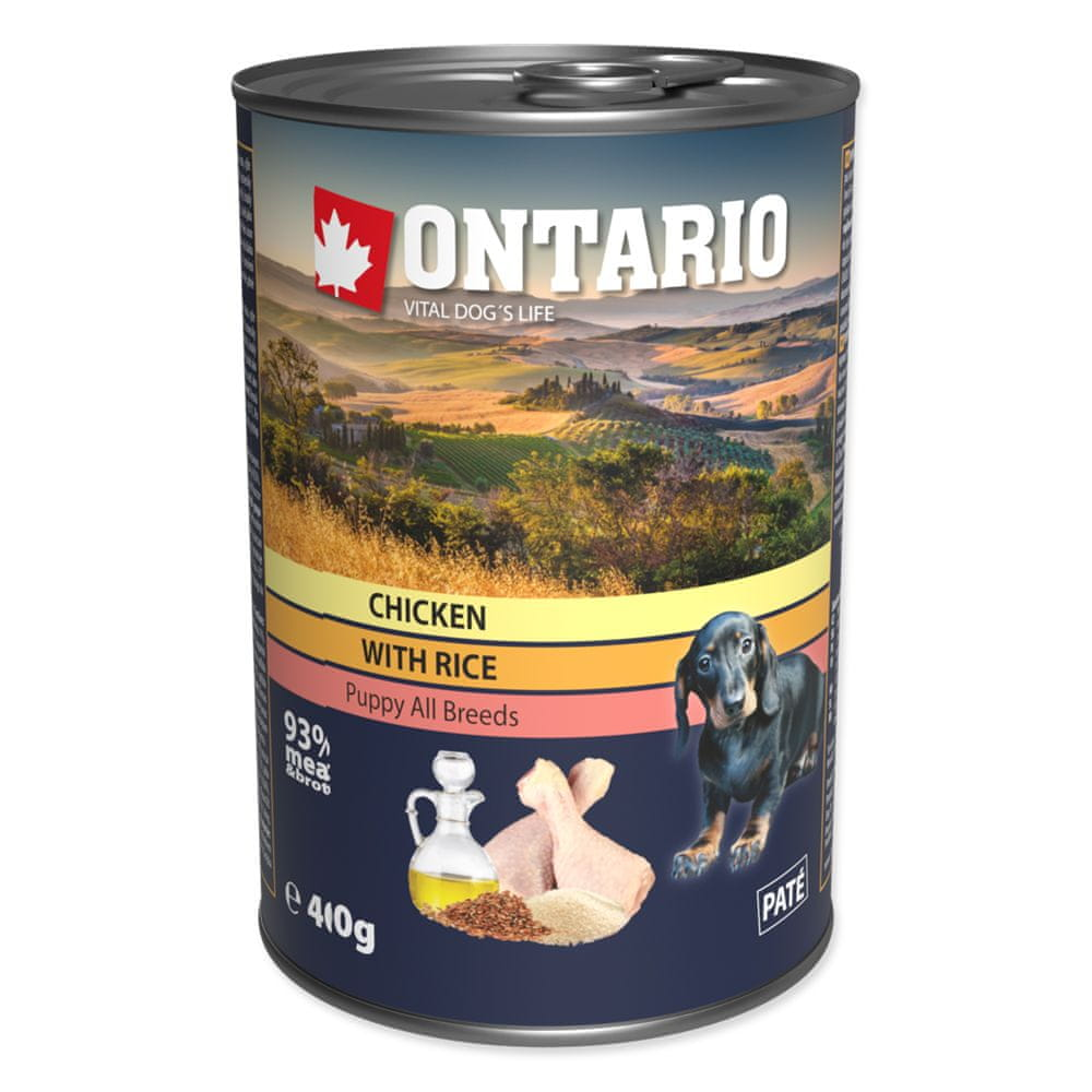 Ontario konz. Puppy Chicken, Rice and Linseed Oil 6x400 g