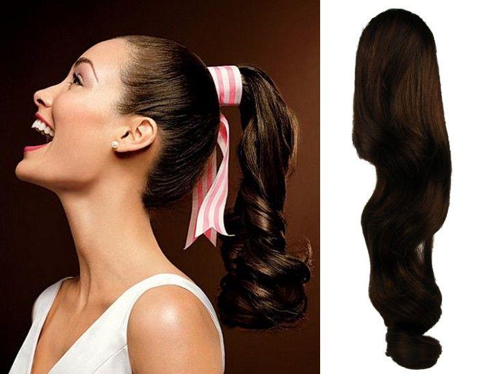 Clip-Vlasy-Levne.cz Clip in příčesek culík/cop 100% lidské vlasy 60cm vlnitý - tmavě hnědý